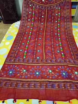 traditional embroidered real mirror work duppatta