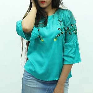 Turquoise Green Women Top with Embroidery Design