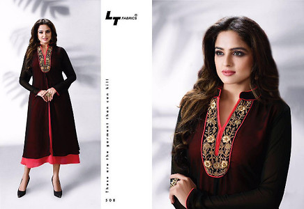 Georgette with santoon inner - embroidery work  Size XL (42)
