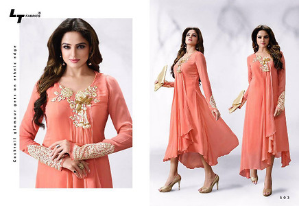 Georgette with Santoon Inner and embroidery work -Size XL (42)