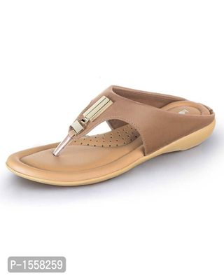 Beige Solid Synthetic Leather Fashion Flats