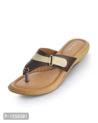 Brown Solid Synthetic Leather Fashion Flats
