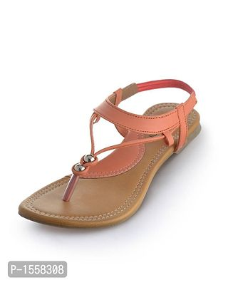 Peach Solid Synthetic Leather Fashion Flats