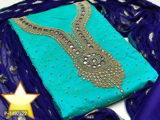 Turquoise Embellished Chanderi Cotton Dress Material