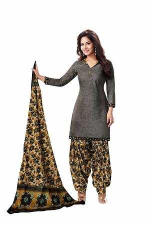 Women's Cotton Patiyala Grey Floral Printed Unstitched Dress Material