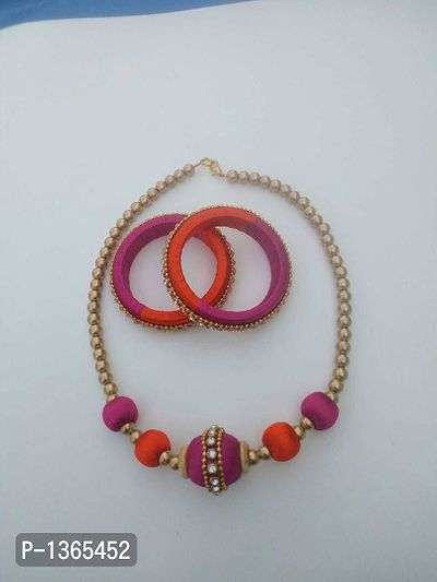cute pink n orange color silk thread jewelry set