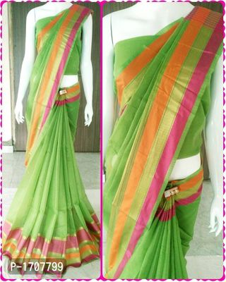 Green Self Pattern Cotton Blend Bollywood Saree