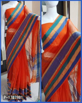 Orange Self Pattern Cotton Blend Bollywood Saree