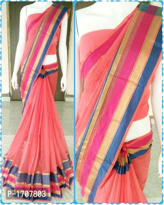 Pink Self Pattern Cotton Blend Bollywood Saree