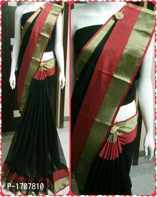 Black Self Pattern Cotton Blend Bollywood Saree