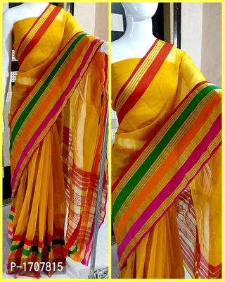 Yellow Self Pattern Cotton Blend Bollywood Saree