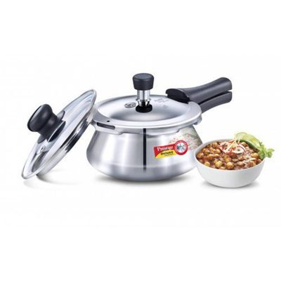 Deluxe Alpha Stainless Steel Pressure Handi With Glass Lid 1.5 Litres Silver