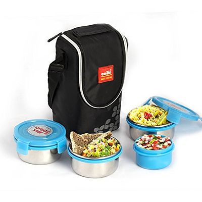 Blue Max Fresh Click Steel Lunch Box Set 4-Pieces
