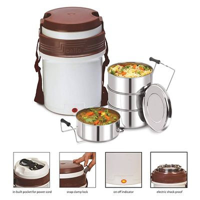 (White/Brown) Newton Electric Lunch Box with 4 Containers