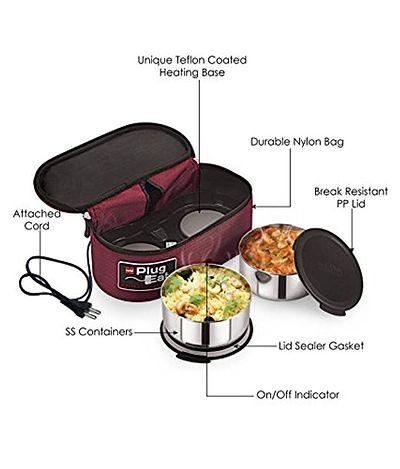 Maroon Proton Electric Staiinless Steel Lunch Box 2-Pieces