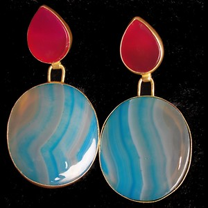 A Pair of Royal Earrings with a Great Combination of Pink and Blue Stone with Cool Texture