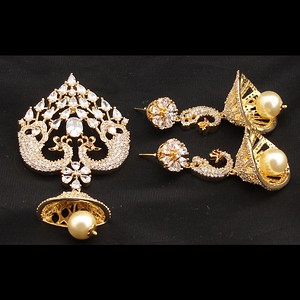 Glaera CZ And Crystal Peacock Pendant Set With Sparky Jhumka Style Earring Traditional Peacock Wedding Jewelry