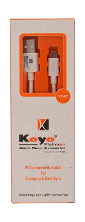 Koyo Platinum Data Cable for Smart Phones Useable for Charging & Data Sync, Quick Charge with 2 AMP+ Current Flow