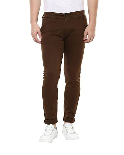 Brown Strechable Regular Wear Chinos