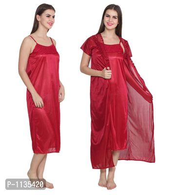 Red Color Satin Wedding Nighty With Rob