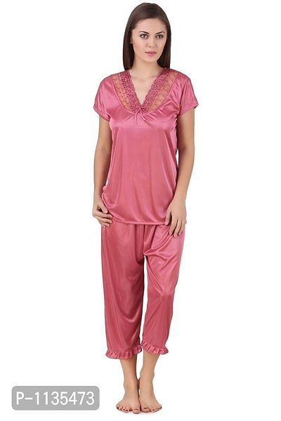 Women's Lace Work Satin Nightsuit