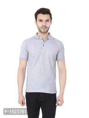 Grey Polycotton Polo T-shirt