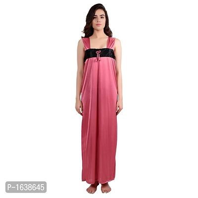 Peach Satin Solid Gowns