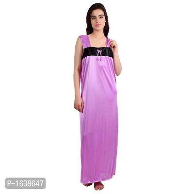 Purple Satin Solid Gowns