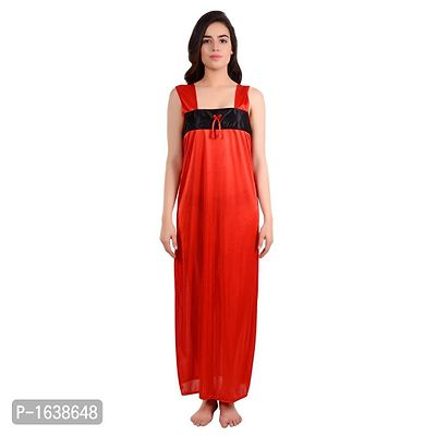 Red Satin Solid Gowns