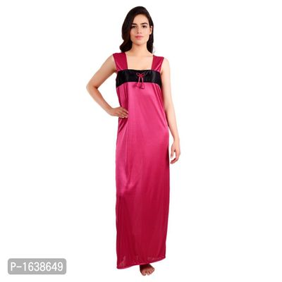 Pink Satin Solid Gowns