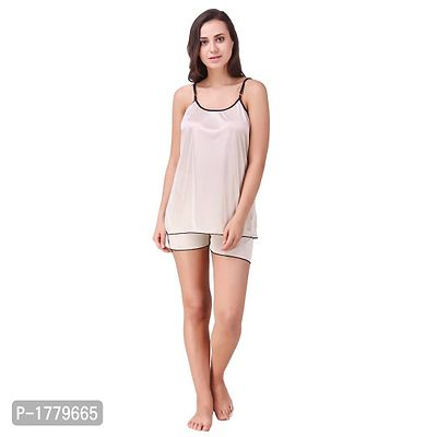 Off White Solid Satin Camisole and Shorts Set