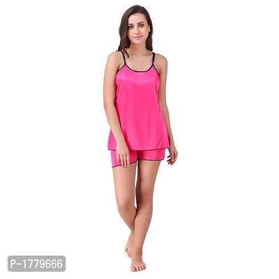 Pink Solid Satin Camisole and Shorts Set