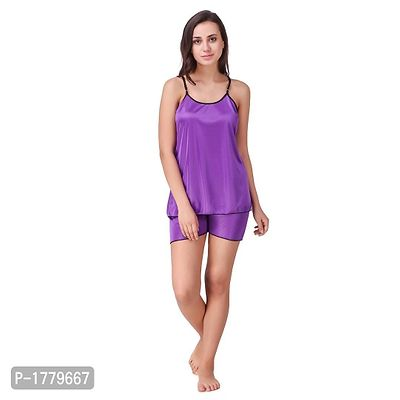 Purple Solid Satin Camisole and Shorts Set