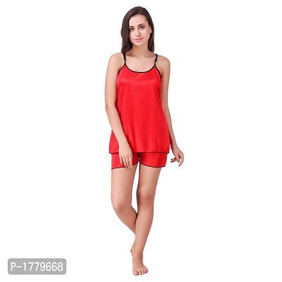 Red Solid Satin Camisole and Shorts Set