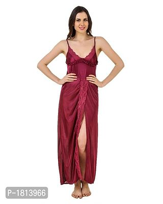 Maroon Solid Satin Night Gowns