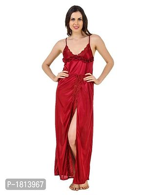 Red Solid Satin Night Gowns