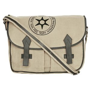f1ba42a4108a NEUDIS Genuine Leather   Recycled Stone Washed Canvas Spacious Laptop  Messenger Bag