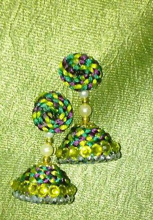 Twisted Silk thread jhumkas. ..