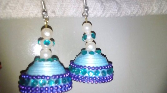 Paper quilled jhumkas. ..skyblue