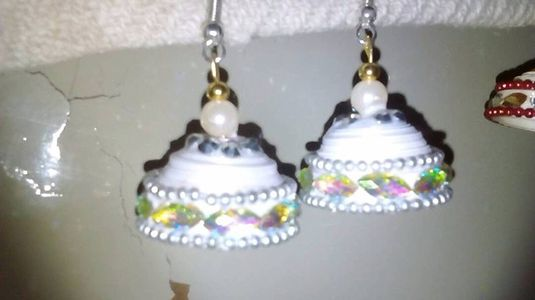 Paper quilled jhumkas. ..white