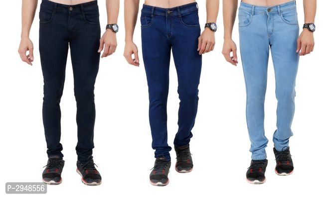 Pack Of 3 Solid Slim Fit Men's Jeans
