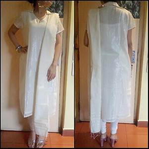 White and silver kurti-leggings-dupatta set (fully stitched)