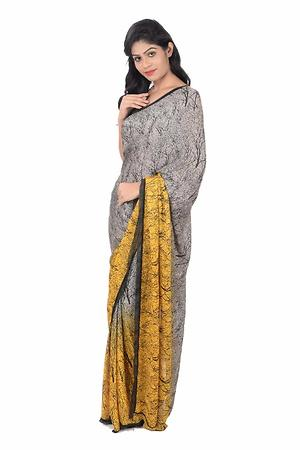 Satin shaded forest print saree with sequinned blouse