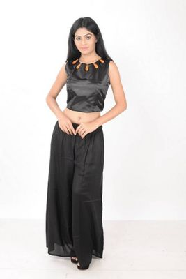 Black satin crop top only with orange bead detailing