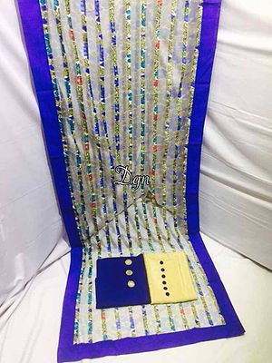 Beautiful nett  stall duppata  Pure cotton shirt fabric 2.30 meters with foil mirror an rings  Shantoon bottom fabric2.5 meter With bottons