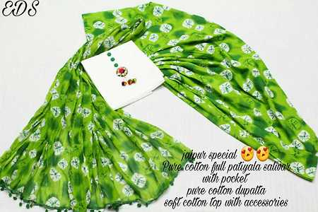 *jaipur special Pure cotton full patiyala salwar* *With pocket inside* *pure cotton dupatta  and*  *soft cotton top with accessories*