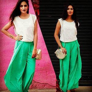 seagreen flap pannel palazzo pant