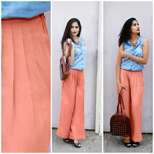 lovely peach palazzo pant