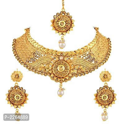 Elegant Lct Stone Gold Plated Choker Style Necklace Set With Mangtikka