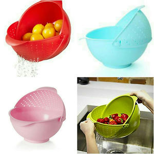 Rice Bowl And Strainer In One (Assorted Color)